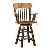 Tulare 24 Swivel Panel Back Bar Stool with Arms by Millwood Pines