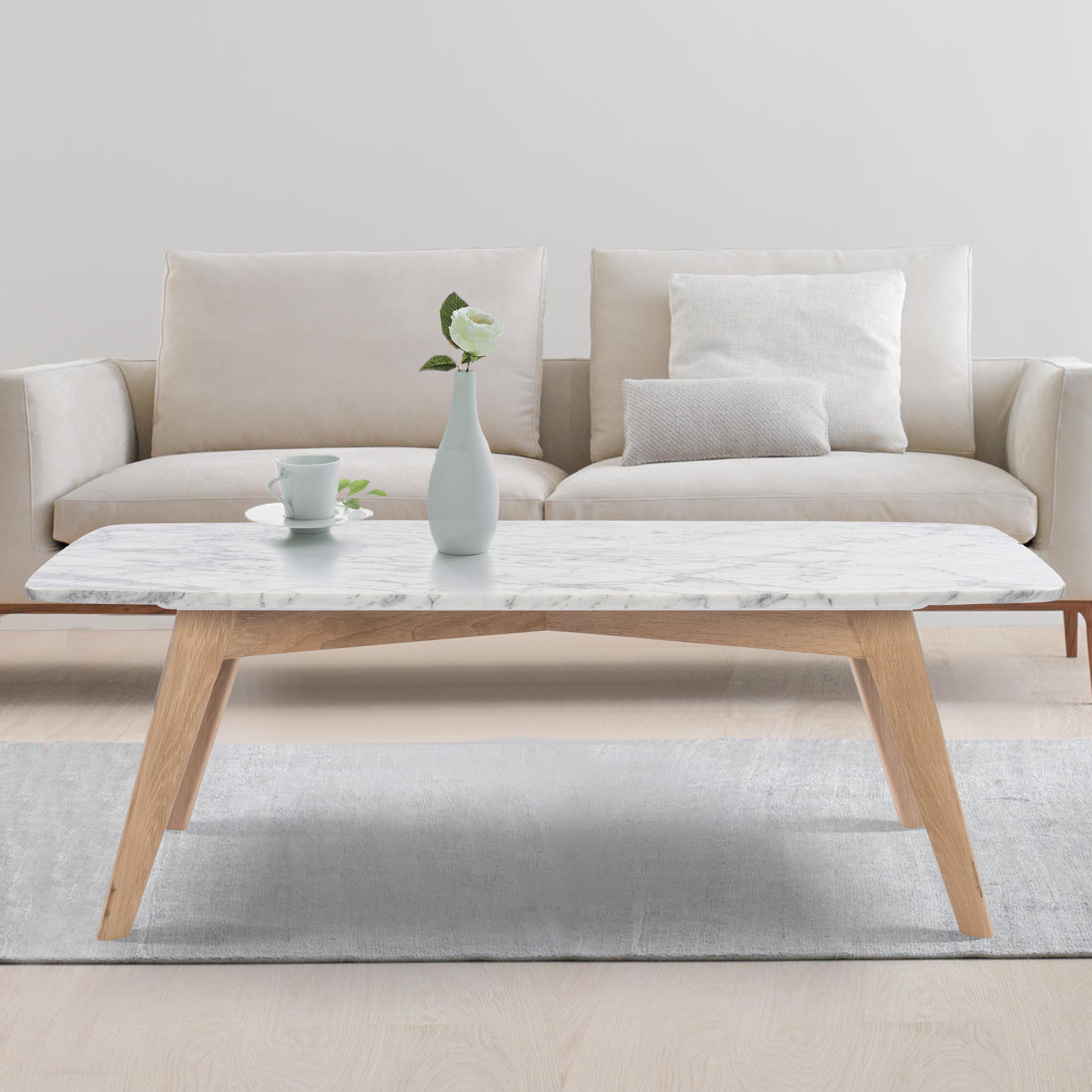 Ivy Bronx Hilma Rectangular Italian Carrara White Marble Table Coffee Table Reviews Wayfair