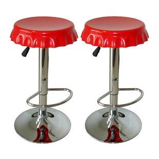 Orren Ellis Giambrone Adjustable Height Swivel Bar Stool (Set of 2)