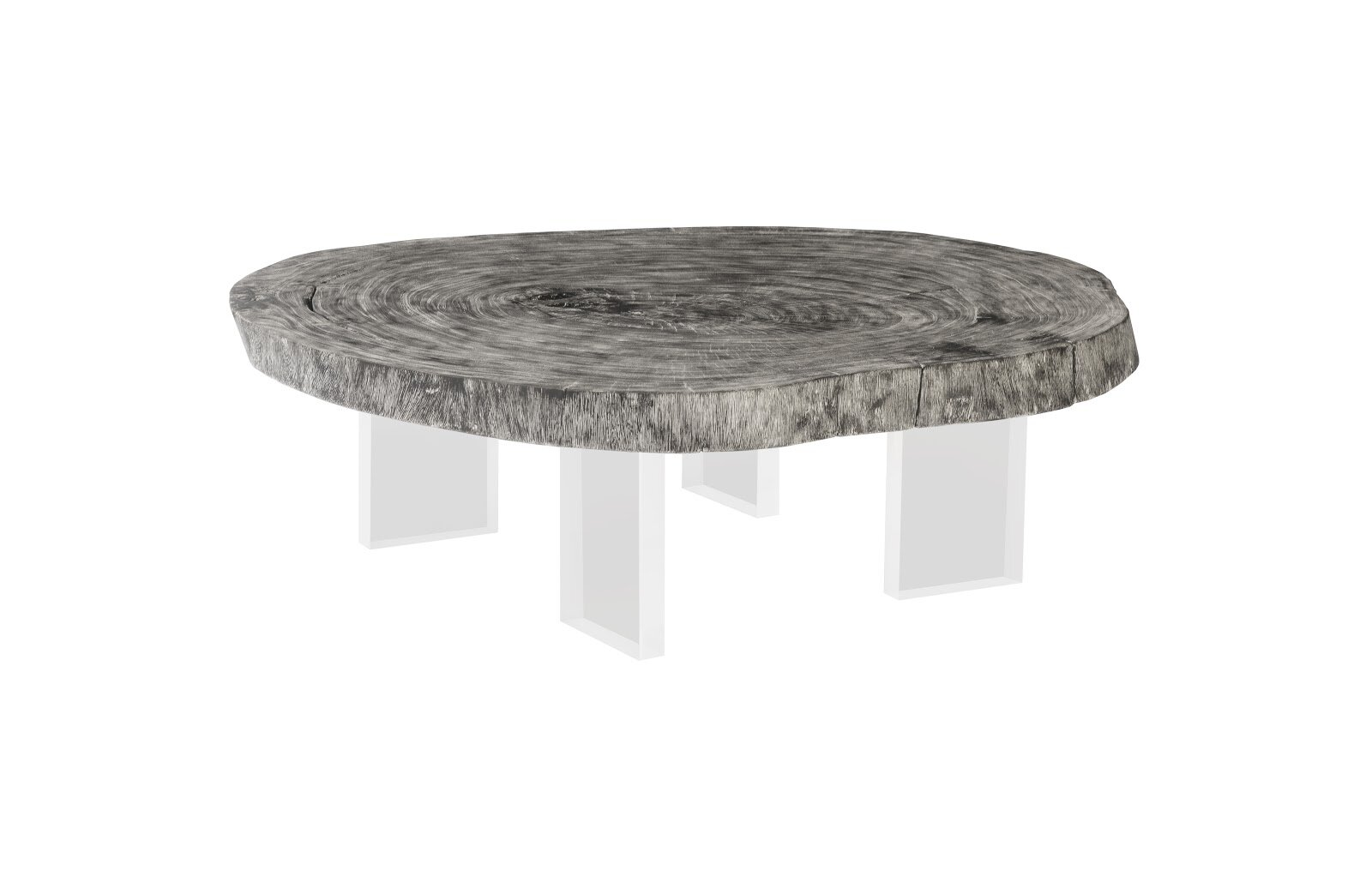 floating coffee table on acrylic legs chamcha wood grey stone size varies