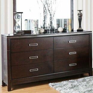 Orren Ellis Brinegar 6 Drawer Double Dresser with Mirror
