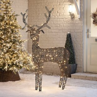 Battery Or Mains Operated Outdoor PVC Rattan Reindeer Christmas Figurine By The Seasonal Aisle