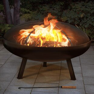 Cast Iron Steel Wood Burning Fire Pit With Spark Screen
