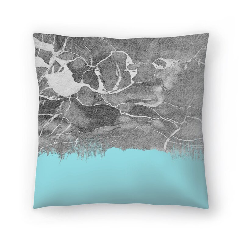 East Urban Home Crayon Marble With Light Blue Throw Pillow Wayfair