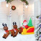 Inflatable LED Lit Christmas Santa and Reindeer Lawn Yard Decoration