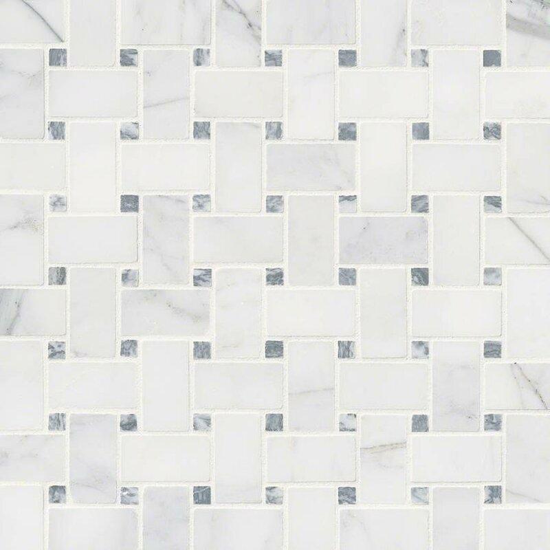 Calacatta Cressa Basketweave Honed Marble Mosaic Tile in White
