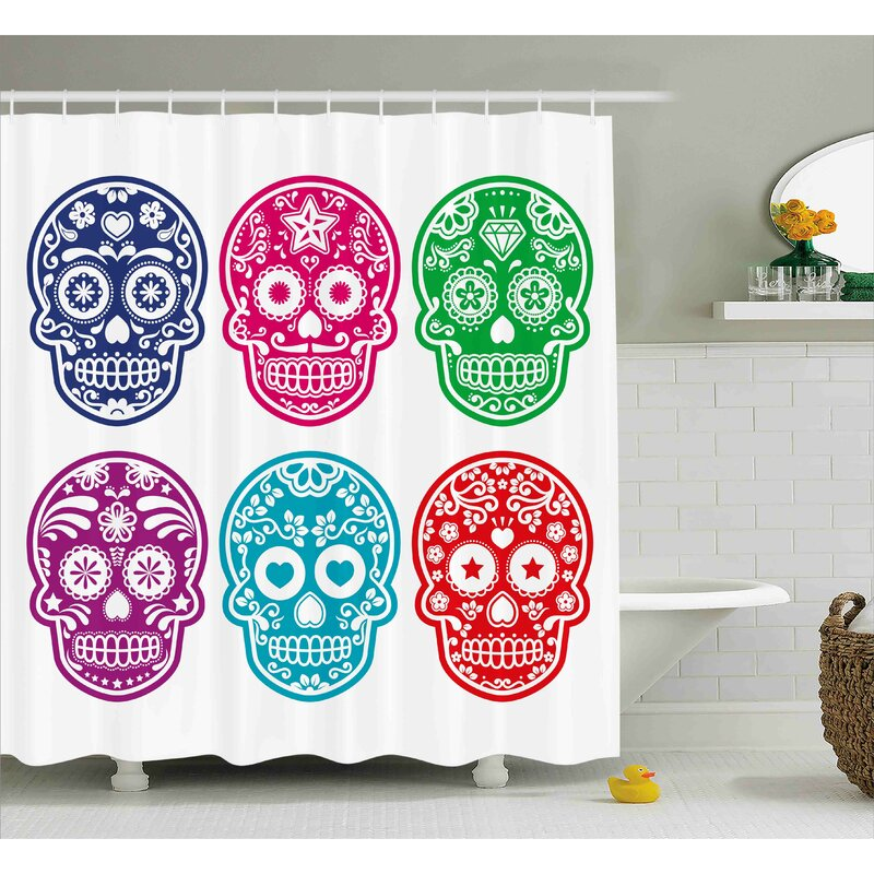 Ebern DesignsSavannah Day Of The Dead Skull Oriental Mexican Sugar For Festive Shower Curtain