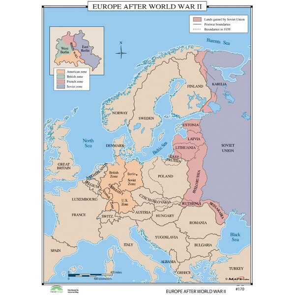 Universal Map World History Wall Maps - Europe after World War II ...