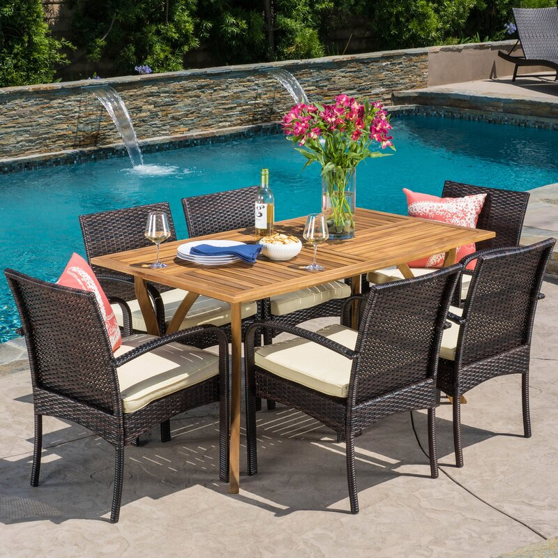 Rincon 7 Piece Dining SetPatio Dining Sets You ll Love   Wayfair. Outdoor Furniture Dining Sets. Home Design Ideas