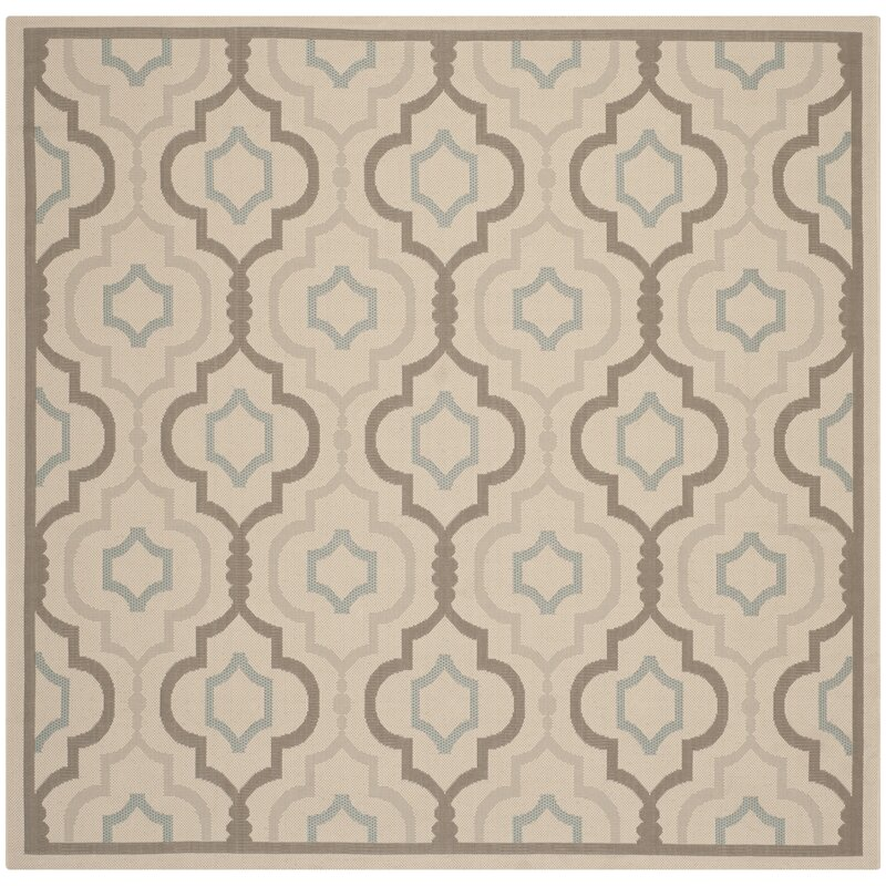 Alcott Hill Asheville Beige/Gray Indoor/Outdoor Area Rug, Size: Square 67