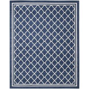 Maritza Geometric Navy Beige Indoor Outdoor Woven Area Rug
