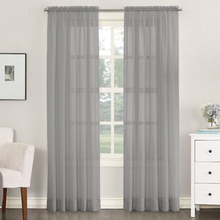 Emily Solid Color Sheer Rod Pocket  Window Single Curtain Panel by Charlton Home