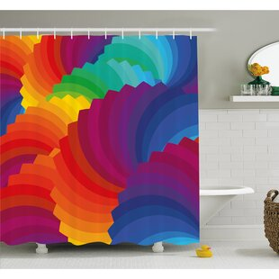Gradient Dash Sea Shell Inspired Wavy Dimension Palette Stripes Artisan Shower Curtain Set