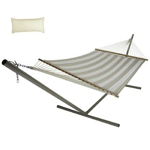 Moshe Quilted Double Tree Hammock with Stand by Longshore Tides