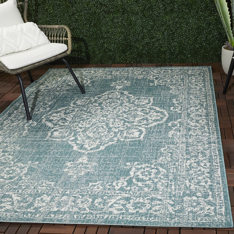 Charlton Home Olvera Oriental Teal Indoor Outdoor Area Rug Reviews Wayfair