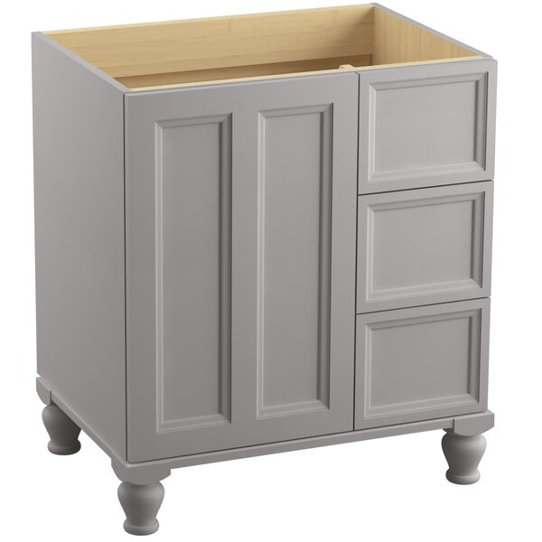 Kohler Damask 30 Vanity Base Only With Furniture Legs 1 Door And 3 Drawers On Right Wayfair