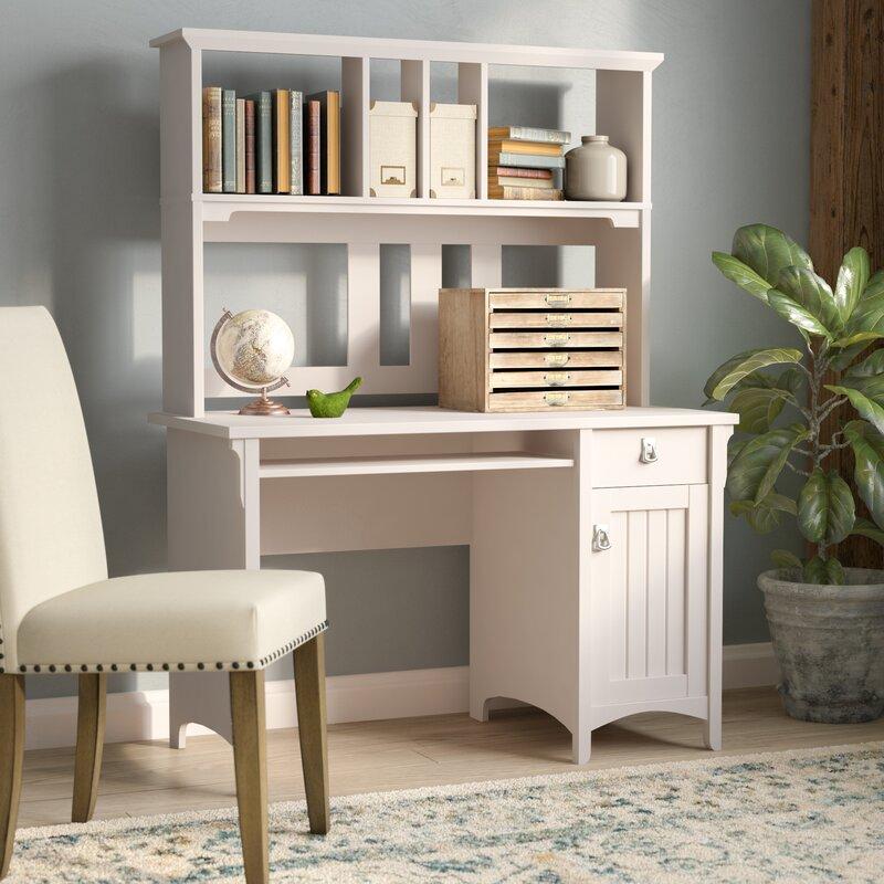 salinas computer desk with hutch antique white