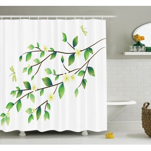 Ruby Country Leaves With Little Dragonflies and Jasmine Botanical Ecology Illustration Single Shower Curtain