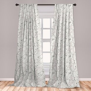 Ambesonne Grey And Mint 2 Panel Curtain Set, Rustic Branches White Buds  Purity Of Untouched Nature Theme, Lightweight Window Treatment Living Room  ...