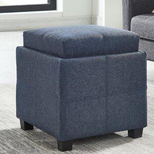 Pimentel Fabric Storage Cube Reversible Tray Lid Ottoman ByEbern Designs