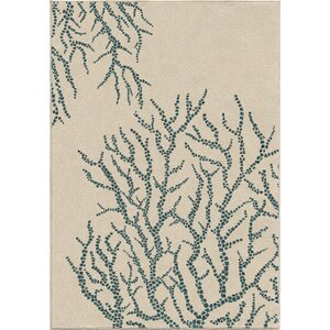Portwood All Over Coral Ivory/Blue Indoor/Outdoor Area Rug