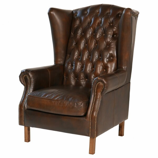 Elegant Joseph Allen Old World Antique Leather Wingback Chair U0026 Reviews | Wayfair
