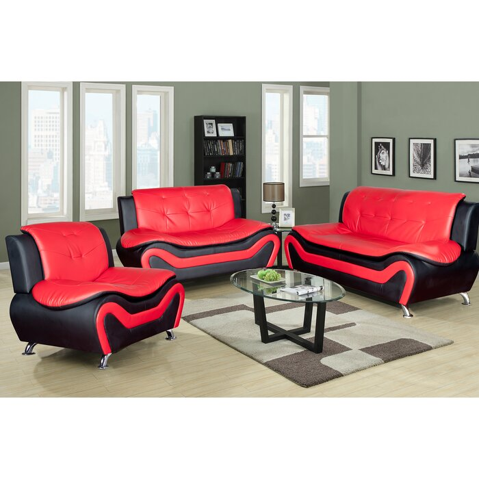 Classical 3pc Sectional Sofa Set, Faux Leather Upholstery Material, Black &  Red Colour