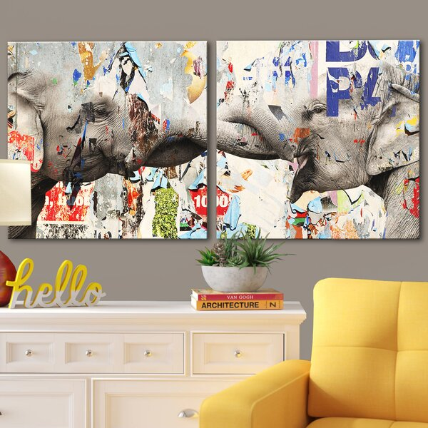 'Saddle Ink Elephant VI' Graphic Art on Canvas - Elephant Wall Decor