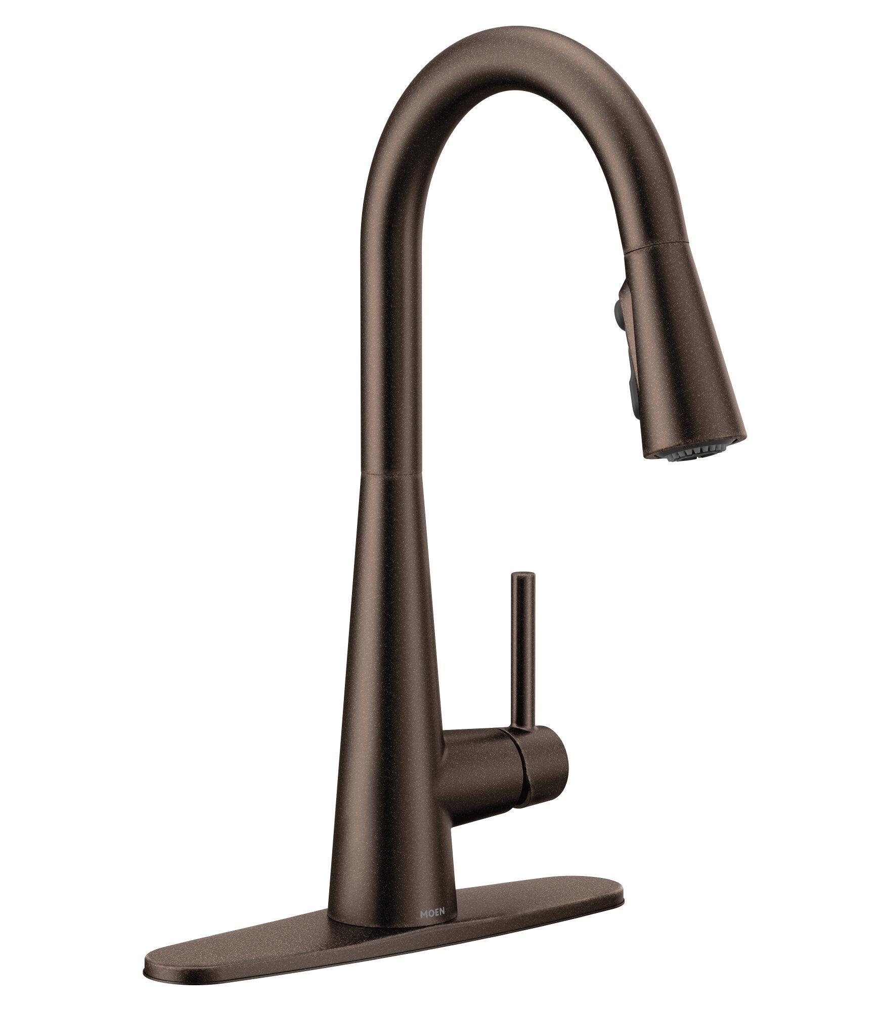 Moen Sleek High Single Handle Kitchen Faucet With Power Clean Reviews Wayfair Ca