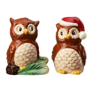 Season Christmas Owls 2 Piece Salt And Pepper Shakers Set