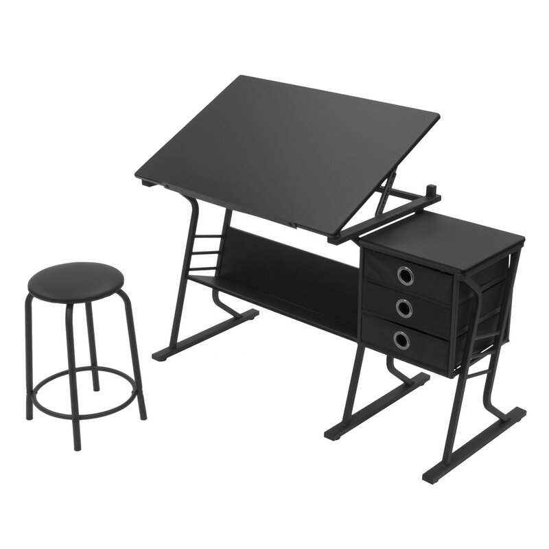 Offex Eclipse 2 Piece Drafting Table Set & Reviews | Wayfair