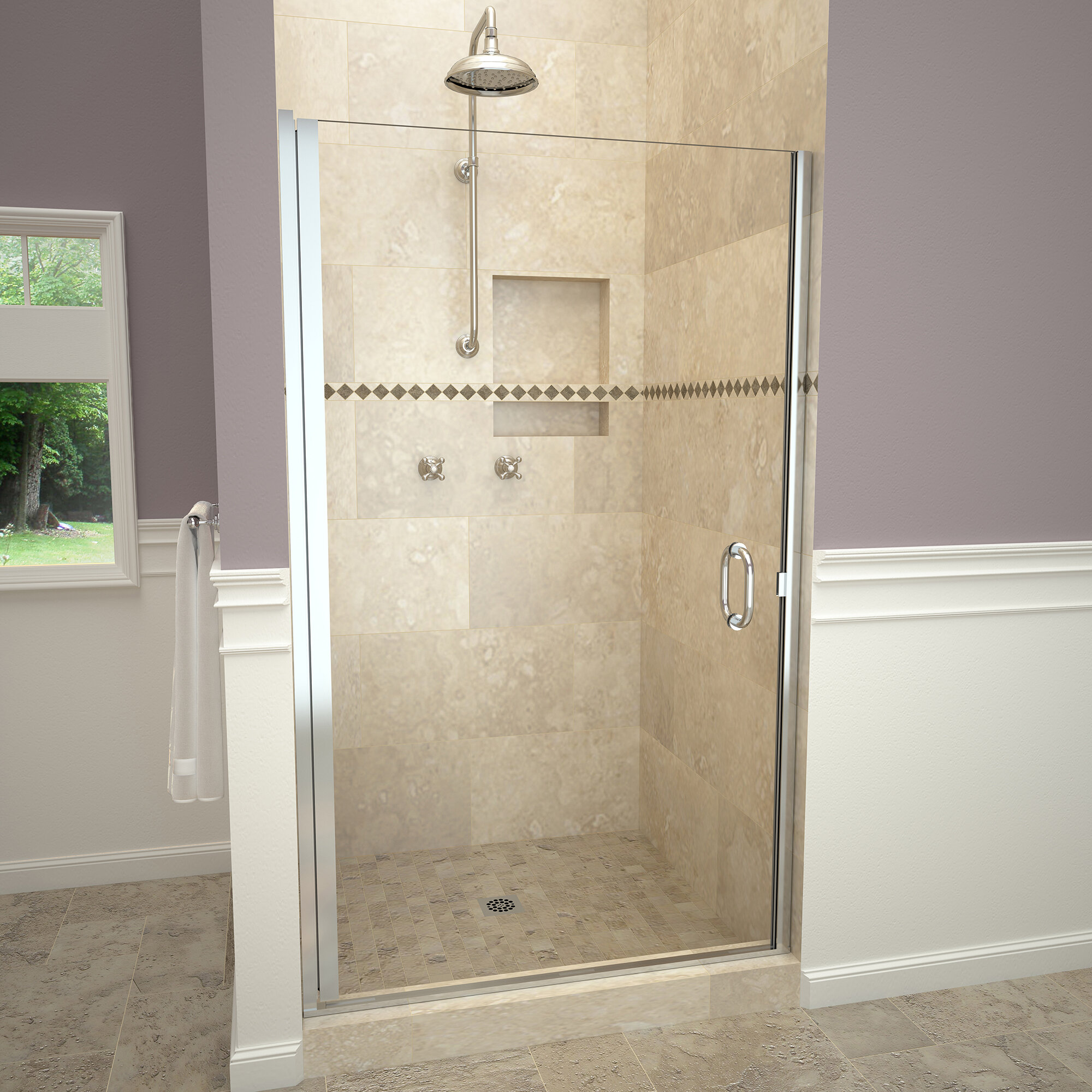 1200 Series Swing 34 X 76 Pivot Semi Frameless Shower Door
