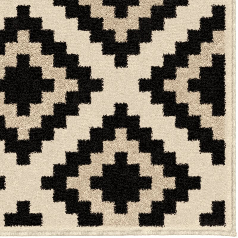 Black Area Rugs brayden studio mullinix ivory/black area rug & reviews | wayfair
