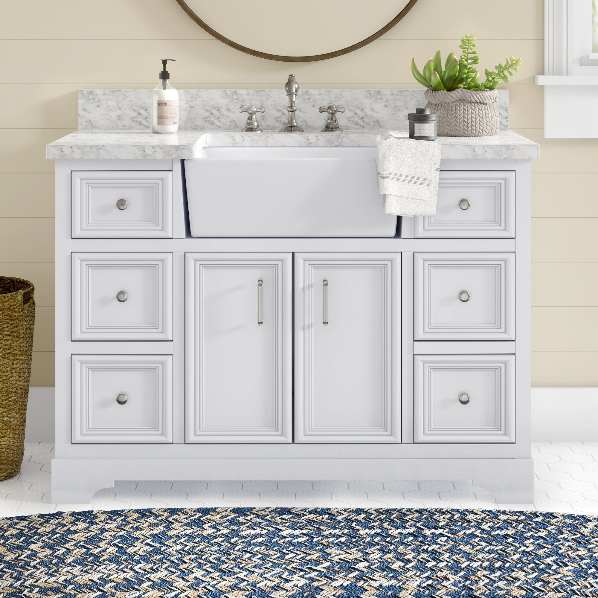 Coastal Farmhouse Teigan 48 Single Bathroom Vanity Set Reviews Wayfair