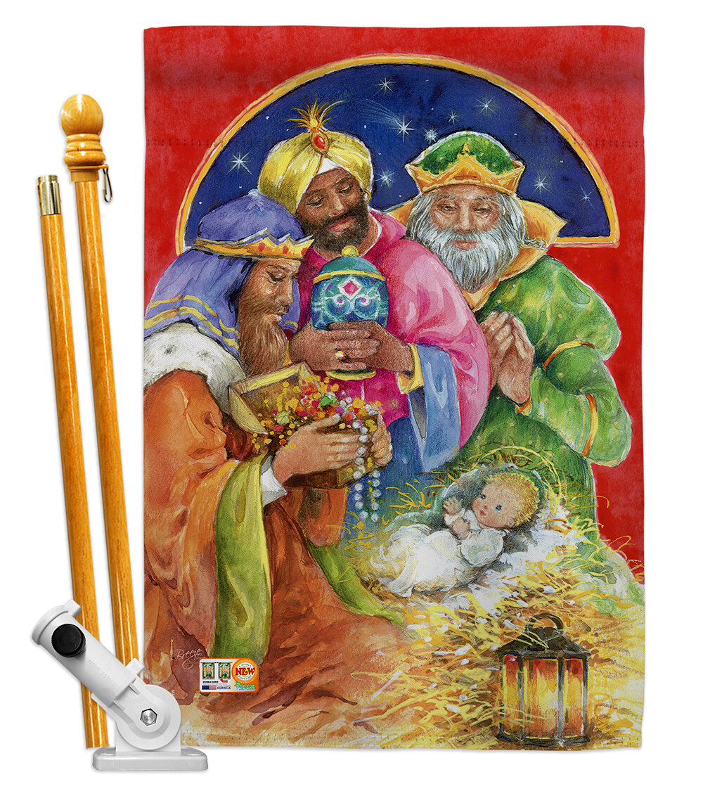 Breeze Decor Three Kings Gifts Nativity Impressions Decorative 2 Sided Polyester 40 X 28 In Flag Set Wayfair