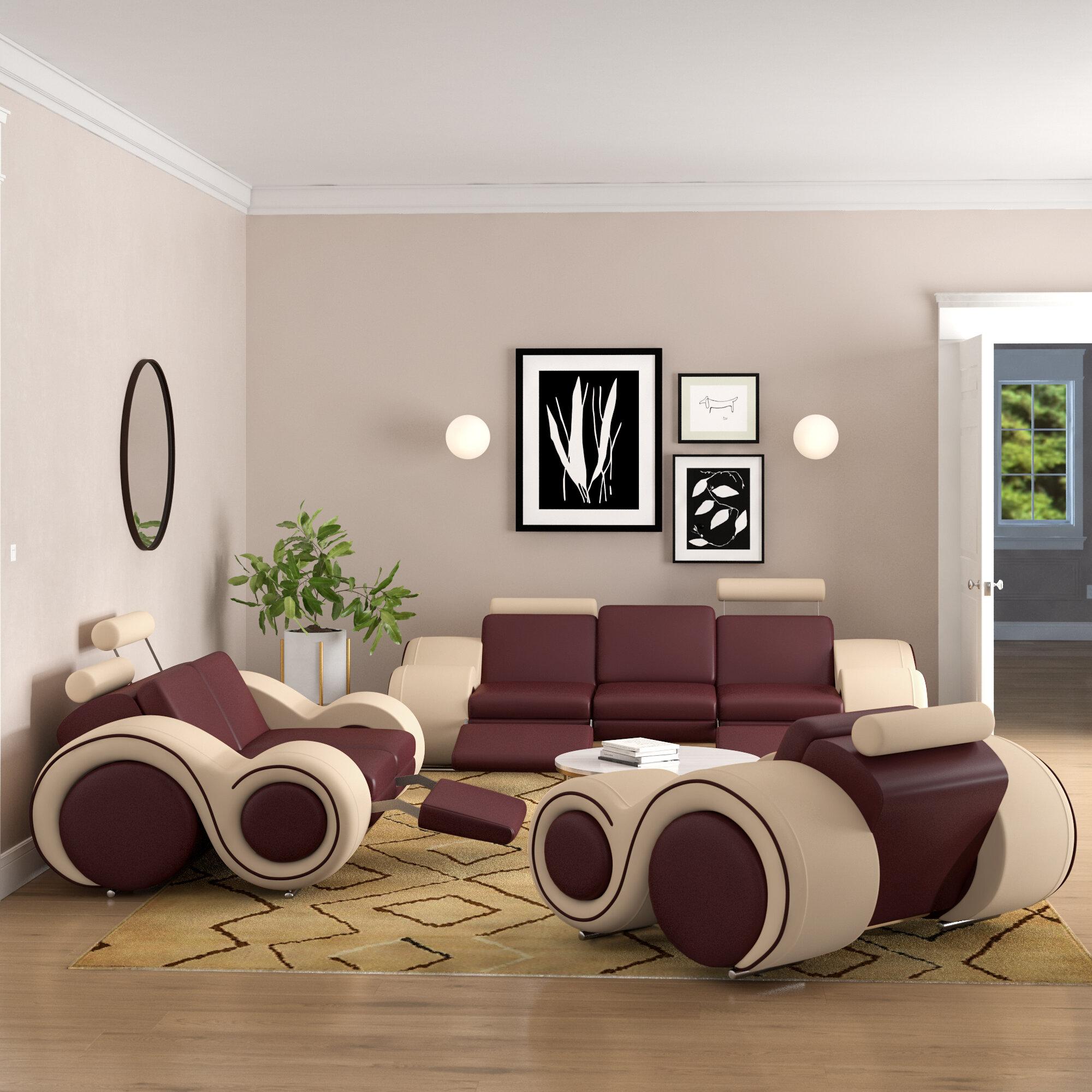 Orren Ellis Behr 3 Piece Living Room Set Reviews Wayfair