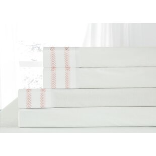 Out of Line Embroidered 4 Piece 200 Thread Count 100% Cotton Sheet Set