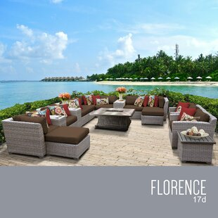 TK Classics Florence 17 Piece Rattan Sectional Set with Cushions