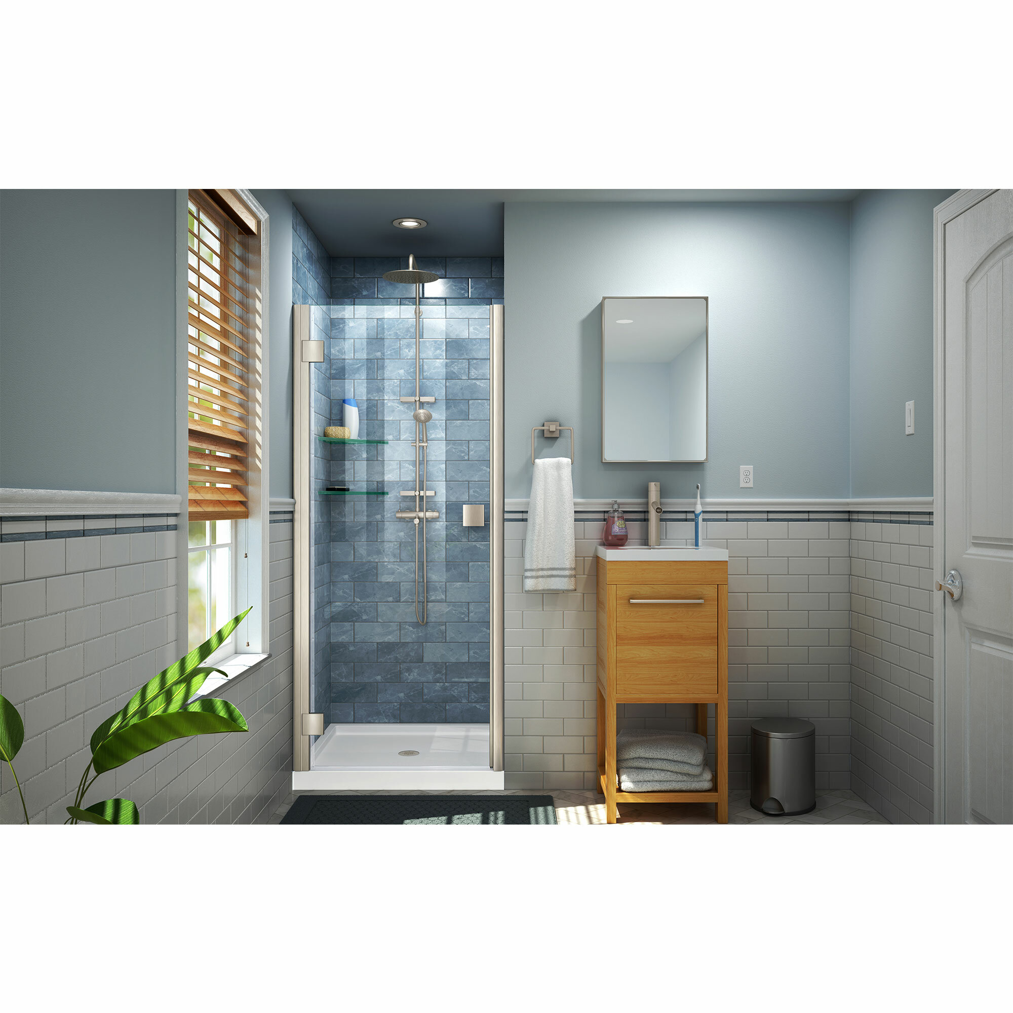 Lumen 35 X 72 Hinged Semi Frameless Shower Door