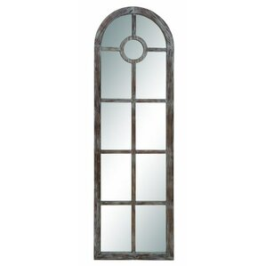 traditional arched windowpane wall mirror