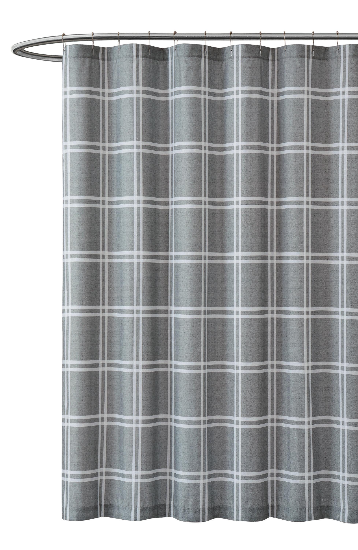 Truly Soft Leon Plaid Grey Shower Curtain