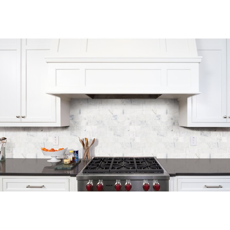 "Calacatta Cressa Honed 3"" x 6"" Marble Subway Tile in White"