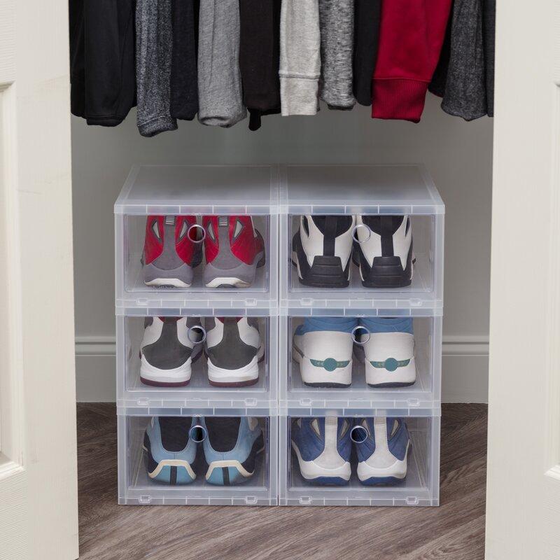 Delicieux Wide 6 Pair Stackable Shoe Storage Box