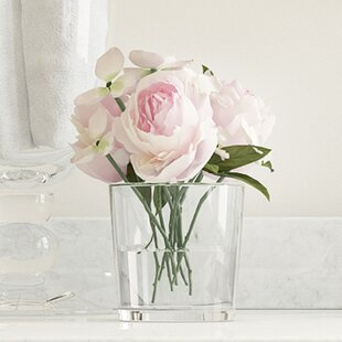 Artificial flower arrangements youll love wayfair hydrangea and rose arrangement in glass vase mightylinksfo