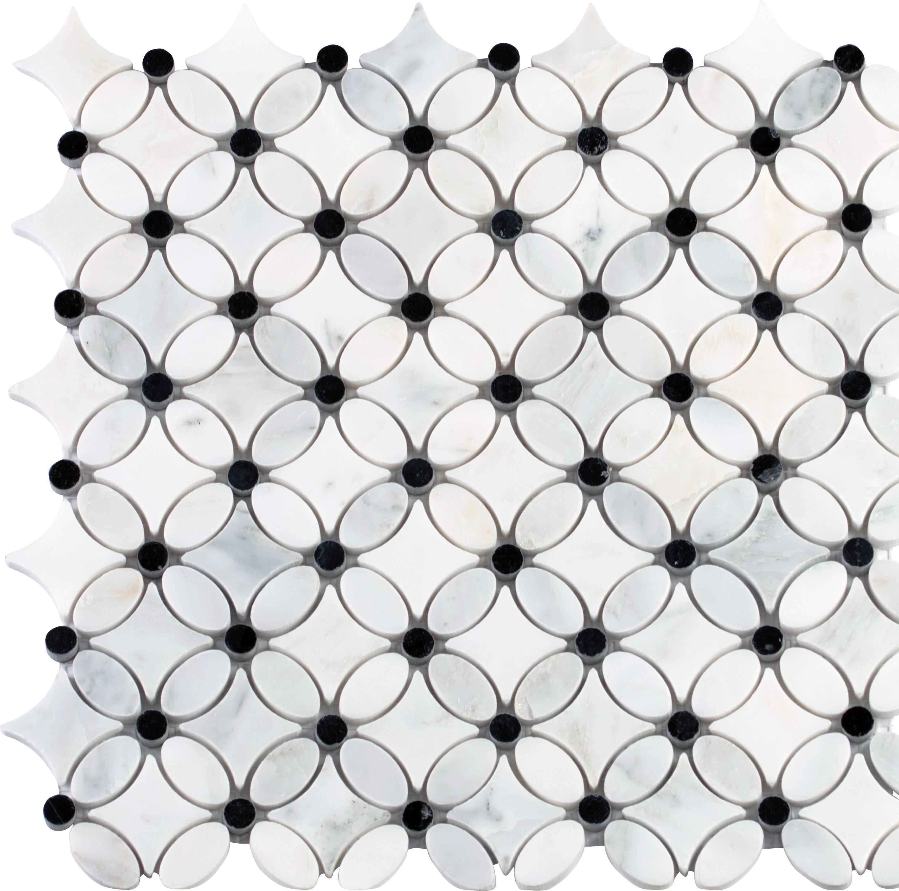 msi florita pattern polished marble mosaic tile in white black wayfair rh wayfair com