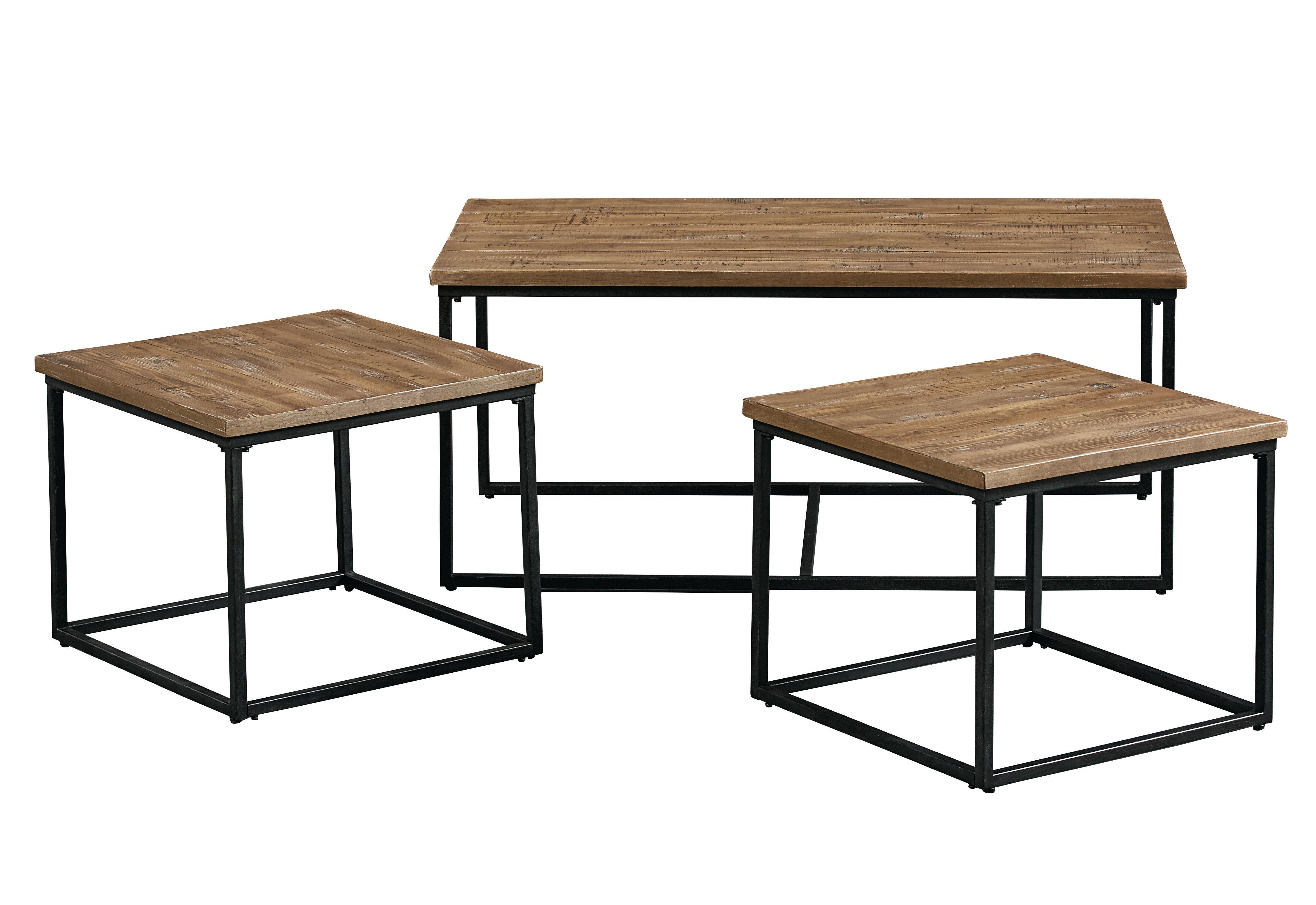 Wood And Metal Multi Level Coffee Table.Ridgewood 3 Piece Coffee Table Set