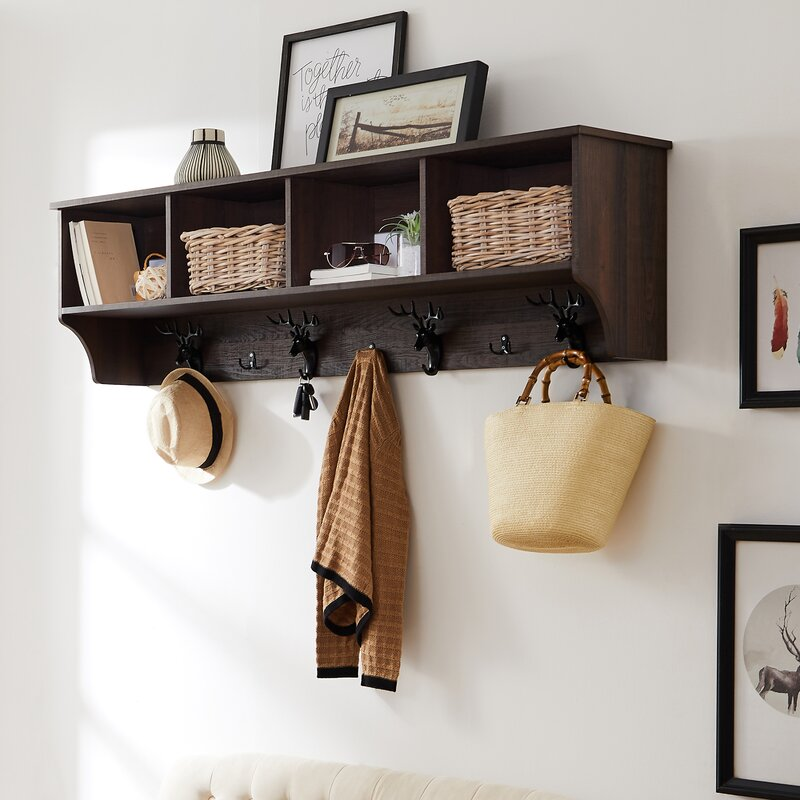 Loon Peak® Bunnell 7 - Hook Wall Mounted Coat Rack with Storage in