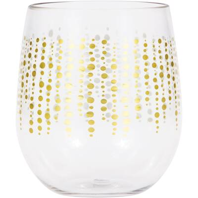 495eb35468c Hartselle Glittering Dots 14 oz. Plastic Stemless Wine Glass (Set of 6)