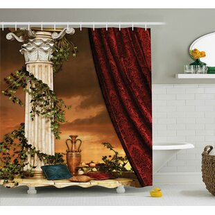 Greek Scene Climber Pillow Fruits Vine and Red Curtain Ancient Goddess Sunset Shower Curtain + Hooks