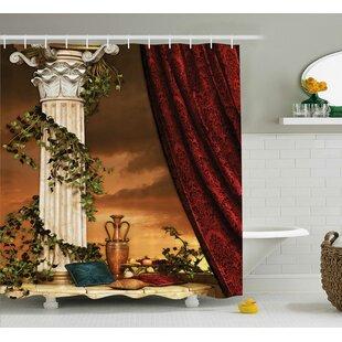 Greek Scene Climber Pillow Fruits Vine and Red Curtain Ancient Goddess Sunset Shower Curtain + Hooks